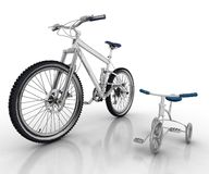 Children's bicycle and sports bike Royalty Free Stock Photos