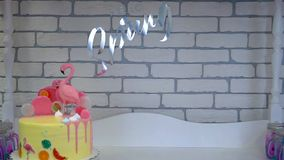 Children`s birthday cake at candy bar. stock footage