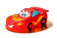 Children`s birthday cake cars lightning mcqueen on an isolated background