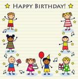 Children's birthday. Cartoon children celebrating birthday on a striped background sheet Royalty Free Stock Images