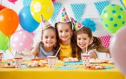 N`s birthday. happy kids with cake Stock Photos