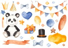 Children`s birthday by watercolor. Balloons, ribbon, panda, gift, flags, crown, hat, butterfly, candle, stars. royalty free illustration