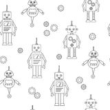 Children`s black and white pattern with robots. Silhouettes of robots in the cartoon style. Irregular Royalty Free Stock Photo