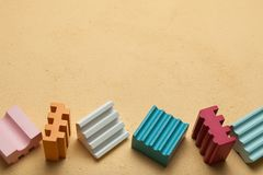 Children`s blocks with colorful cubes, empty space for text vector illustration