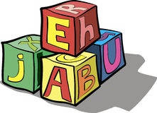 Children's blocks with letters Stock Photos