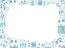 Children's blue jellyfish drawings horizontal frame. Isolated on white vector illustration