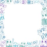 Children's blue jellyfish drawings square frame. On white vector illustration
