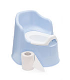 Children's blue pot and toilet paper Royalty Free Stock Images
