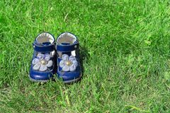Children`s blue sandals on green grass. Cute girl`s shoes in the garden. The concept of childhood and summer royalty free stock images