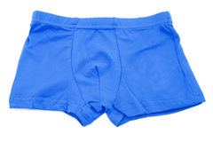 Children's blue swimming shorts isolated on white background. Children's orange swimming shorts isolated on white background with clipping path Stock Images