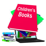 Children's Books Book Stack Laptop Shows Reading For Kids Royalty Free Stock Images