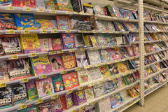 Children`s books on the shelves of the store Royalty Free Stock Image