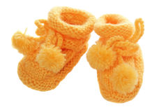 Children's bootees. It is isolated on the white Stock Photography