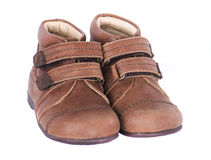 Children's boots. Pair children's boots on a white background Royalty Free Stock Photo