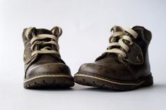 Children's boots. Autumn beautiful Children's leather boots Royalty Free Stock Photography