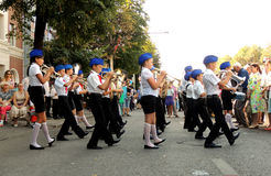 Children's brass band on the city street Stock Images