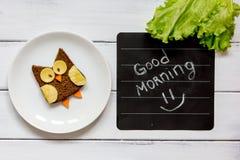 Children`s breakfast owl shaped sandwich good morning Royalty Free Stock Images