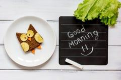 Children`s breakfast owl shaped sandwich good morning Stock Images