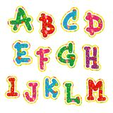 Children's bright colorful alphabet. The first 13 characters Royalty Free Stock Photos