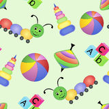 Children's bright seamless pattern with toys Stock Image