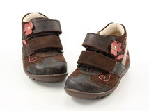 Children's brown shoes Royalty Free Stock Photography