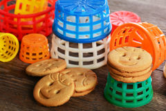 Children's butter cookies and  toys Royalty Free Stock Images
