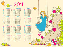 Children's Calendar for 2011. Vector calendar design for kids Royalty Free Stock Image