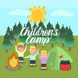 Children`s Camp illustration. Inscription Children`s Camp. A girl and boys greeting waving their hands and smiling. Forest background with a bonfire and a tent Stock Photography