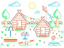 Children`s camp poster. With playground equipment, hut and nature. Contour style vector illustration. Suitable for advertisement or childrens books. EPS10 vector illustration