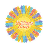 Children`s camp. Round bright frame of feathers. Inscription kids. Vector illustration on white background Stock Images