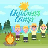 Children`s camp vector illustration. Girl and the boys are waving hands and picnic hike near the fire. Children`s camp card vector illustration. Girl and the Stock Images