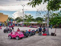 Children`s Car Carousel in Cancun royalty free stock photography