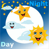 Children's card day night Royalty Free Stock Photography