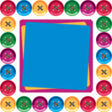 Children`s card. Multi-colored buttons on the perimeter. In the center of the place for the label scraps Royalty Free Stock Photography