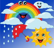 Children's card sun, rainbow, umbrella, cloud. Vector illustration Royalty Free Stock Photography