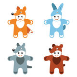 Childrens carnival costumes animals hare fox wolf bear Stock Photography