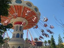 Children`s carousel in the amusement Park stock image