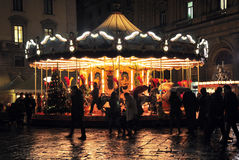 Children's Carousel in the center of one of the squares of Florence Royalty Free Stock Images