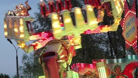 Children`s carousel with horses. Cheboksary, Russia, 05/11/2019 stock video