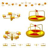 Children`s Carousel or roundabout in different projections from different angles, isometric, flat. Isolated on white background. Children`s Carousel or Stock Images