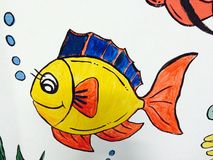 Children's cartoon image. Colorful paintings depicting animals such as fish Stock Photography