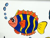 Children's cartoon image. Colorful paintings depicting animals such as fish Royalty Free Stock Photo