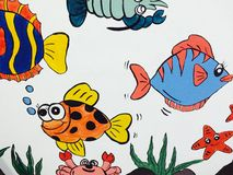 Children's cartoon image. Colorful paintings depicting animals such as fish Stock Photos