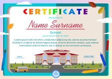 Children`s certificate on the background of an open book, a school building. A bus, school supplies stock illustration