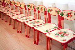 Children's chairs in kindergarten Stock Images