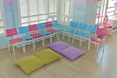Children's Chairs. Pink and Blue Children's Chairs in a Day Nursery Class Royalty Free Stock Photos