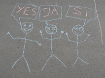 Children's chalk drawing on asphalt Royalty Free Stock Image