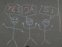 Children's chalk drawing on asphalt Stock Photography