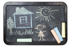 Children's chalk drawing on school board Royalty Free Stock Images