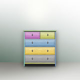 Children's chest. Bright colors on a light background Stock Images